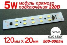Модуль 5W (холод) 120 мм / 500-600 Lm / 220V