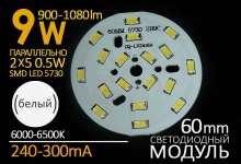 LED модуль 9W (холод) / 900-1080 Lm / 300 mA
