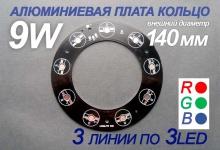 Алюминиевая плата кольцо RGB 140 мм 9W
