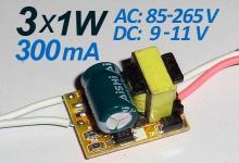 LED драйвер N (3) х 1W, 300 mA